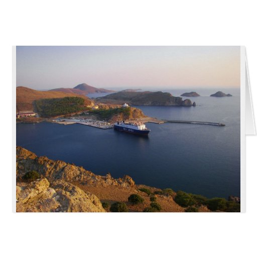Lindos Ferry. Greeting Card