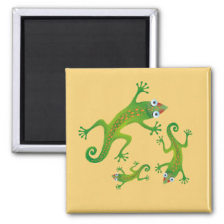 Lindos lagartos verdes, lizard 2 inch square magnet