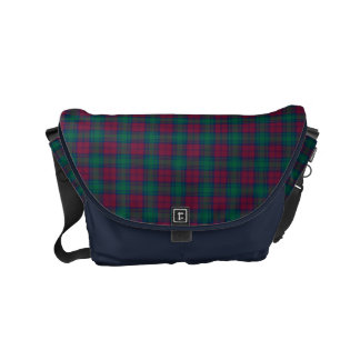 Lindsay Clan Dark Red, Green and Blue Tartan Small Messenger Bag