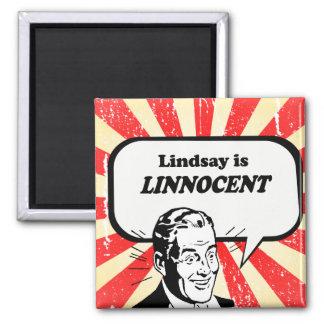 Lindsay is Linnocent 2 Inch Square Magnet