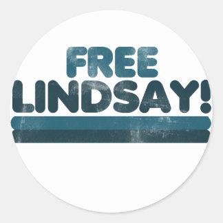 Lindsay libre pegatina redonda
