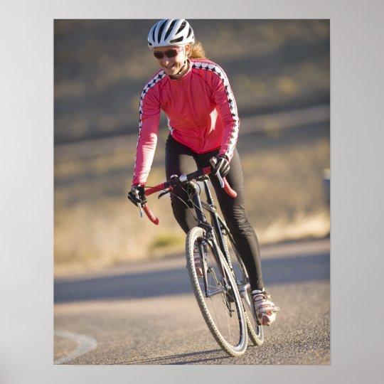 Lindsey Bishop road biking, Boulder, Colorado. Poster