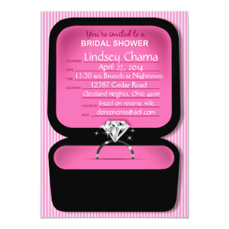 Lindsey Bling Ring Box Bridal Shower pink 5x7 Paper Invitation Card