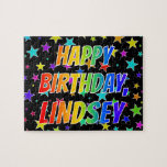 "[ Thumbnail: ""Lindsey"" First Name, Fun ""Happy Birthday"" Jigsaw Puzzle ]"