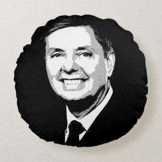 Lindsey Graham Face Round Pillow