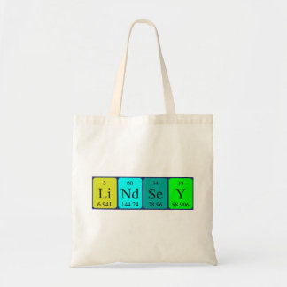 Lindsey periodic table name tote bag
