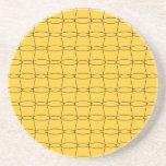 Line Art - CUPS - Black on Yellow Beverage Coasters