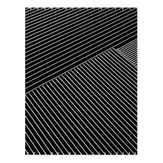 Line art - geometric illusion, abstract stripes bw postcard
