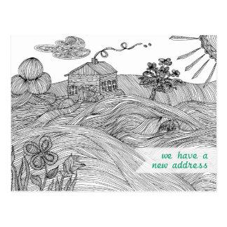 Line Art House on a Hill New Address Postcard