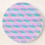 Line Art in Pink and Teal Drink Coasters
