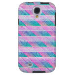 Line Art in Pink and Teal Galaxy S4 Case