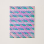 Line Art in Pink and Teal Jigsaw Puzzle
