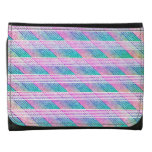 Line Art in Pink and Teal Leather Trifold Wallets