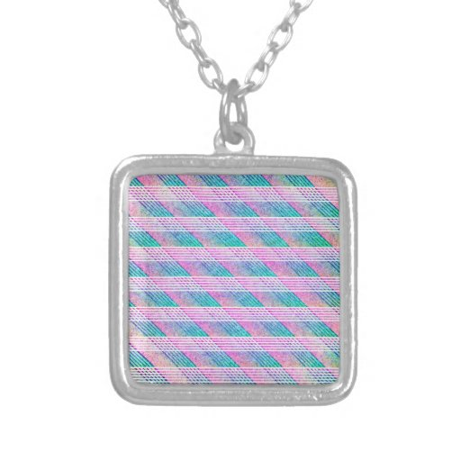 Line Art in Pink and Teal Necklaces