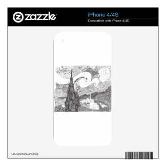 Line Art Interpretation of Starry Starry Night iPhone 4 Decal