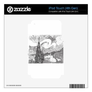 Line Art Interpretation of Starry Starry Night iPod Touch 4G Decals