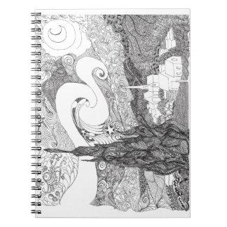 Line Art Interpretation of Starry Starry Night Notebook