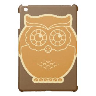 Line Art Owl iPad Case (brown background)