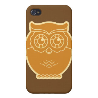 Line Art Owl iPhone Case (brown background) Cases For iPhone 4