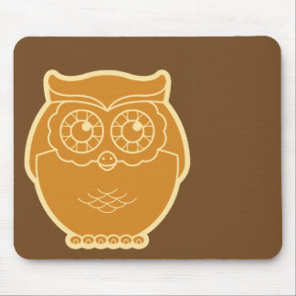 Line Art Owl Mousepad (brown background)