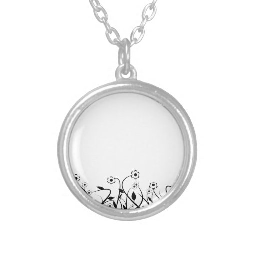 Line Art Pencil Sketch Abstract Design Draw Paper Round Pendant Necklace