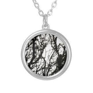 Line Art Pencil Sketch Abstract Design Draw Paper Silver Plated Necklace