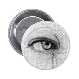Line Art Pencil Sketch Design Draw Paper Fineart E Pinback Button