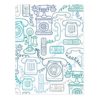 Line art phones pattern post card