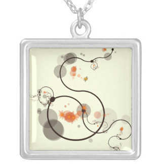 Line Art Silver Plated Necklace