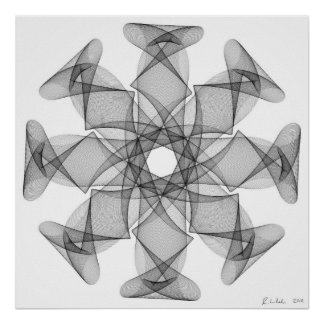 Line Art with an eight symmetry Poster