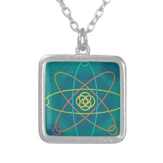 Line Atomic Structure Square Pendant Necklace