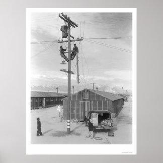 Line Crew at Work in Manzanar 1943 Poster