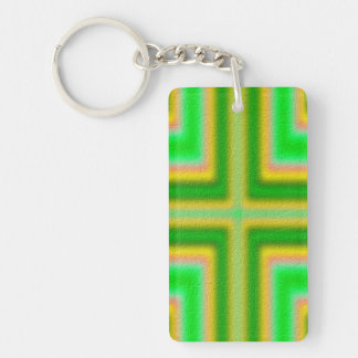 Line Cross pattern Double-Sided Rectangular Acrylic Keychain