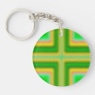 Line Cross pattern Double-Sided Round Acrylic Keychain