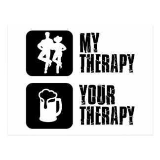 line dance my therapy postcard