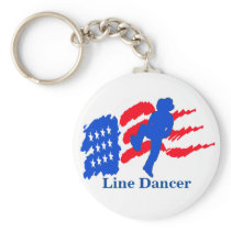 Line Dancer With Flag Key Chain Dancer Gift