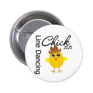 Line Dancing Chick 2 Inch Round Button