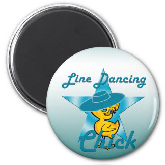 Line Dancing Chick #7 2 Inch Round Magnet