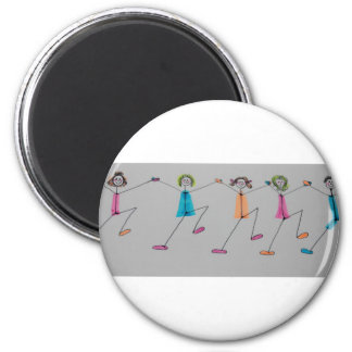 line dancing chicks 2 inch round magnet