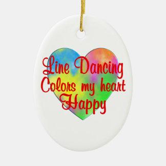 Line Dancing Colors My Heart Happy Ceramic Ornament