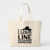 Line Dancing Cowboy Boots Cowgirl Country Music Large Tote Bag