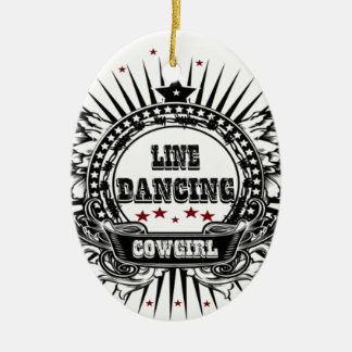 Line dancing cowgirl with red stars ceramic ornament