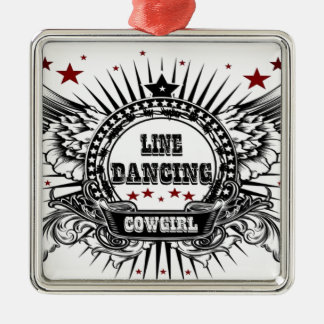 Line dancing cowgirl with red stars metal ornament