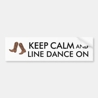 Line Dancing Gift Keep Calm Dancer Cowboy Boots Bumper Sticker