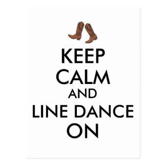 Line Dancing Gift Keep Calm Dancer Cowboy Boots Postcard