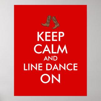 Line Dancing Gift Keep Calm Dancer Cowboy Boots Poster