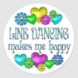 Line Dancing Happinness Classic Round Sticker