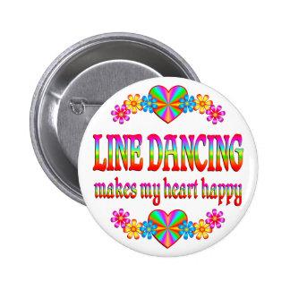 Line Dancing Heart Happy 2 Inch Round Button