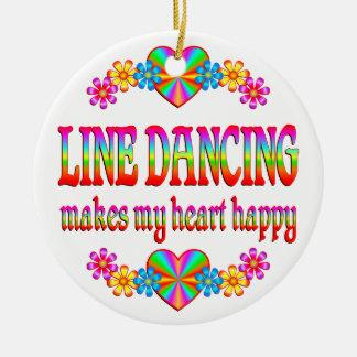 Line Dancing Heart Happy Ceramic Ornament