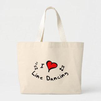 Line Dancing I Heart-Love Gift Large Tote Bag